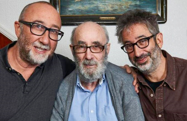 David Baddiel, right, with his father Colin and brother Ivor